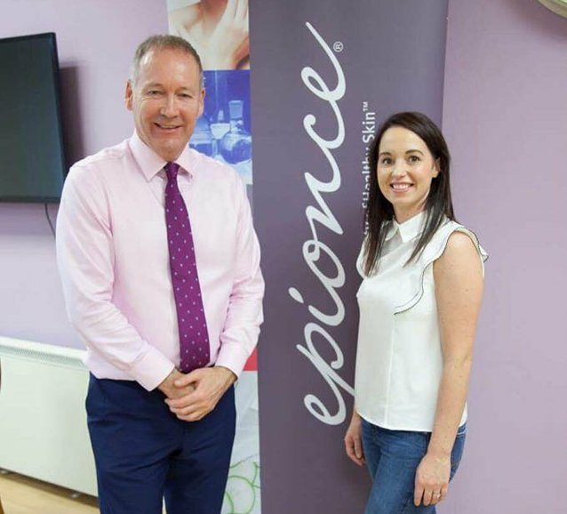 Dr Mervyn Patterson with Danielle from Beautifill Secret Ballymena Botox